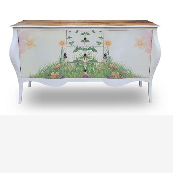 indonesia furniture Side Table 3 Drawers 2 Doors
